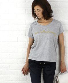"MARILYN MOONポリエステル レーヨン ""San Sebastian"" 刺繍ロゴ Tシャツ"