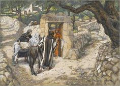 """""""The Foal of Bethphage"""" by James Tissot, ca. 1888. Tissot is obviously illustrating Matthew, as we see two colts."""