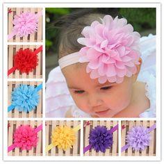 Newborn Baby Girls Satin Ribbon Flower Headbands Photography Props Infant Baby Headband children Accessories  W070 * Encontrar más información haciendo clic en la imagen