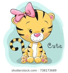 Illustration of Cute Cartoon Tiger on a blue background vector art, clipart and stock vectors. Cartoon Cartoon, Cartoon Tiger, Cartoon Drawings Of Animals, Cute Cartoon Animals, Cartoon Characters, Cute Animals, Tiger Vector, Vector Art, Cartoon Mignon