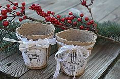 Dekorácie - Natur vintage črepníček vianočný - 6008346_