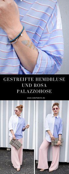 Gestreifte Hemdbluse mit rosa Palazzopants   So stylst Du eine gestreifte Bluse   Outfit