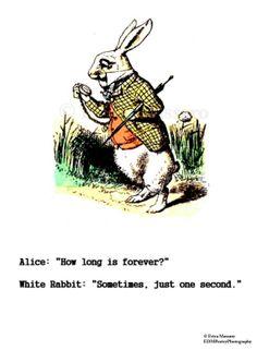 Forever- | Alice in Wonderland Quote | Vintage Art Illustration | White Rabbit | Inspirational Quotes | -Erica Massaro, EDMPoetryPhotography on Etsy.