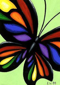 Art 'Wings Of Rainbow Stained Glass' - by Elaina Wagner from Butterflies & Insects
