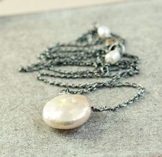 Pearl Necklace   Cream   Sterling Silver  Oxidized by hildes, $33.00