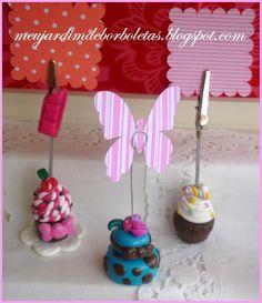 Porta foto Cupcake em Fimo By Val - meujardimdeborboletas.blogspot.com