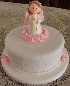 Resultado de imagen para tortas de comunion nenas Pretty Cakes, Beautiful Cakes, Fondant Cakes, Cupcake Cakes, First Holy Communion Cake, Religious Cakes, Confirmation Cakes, Angel Cake, Celebration Cakes