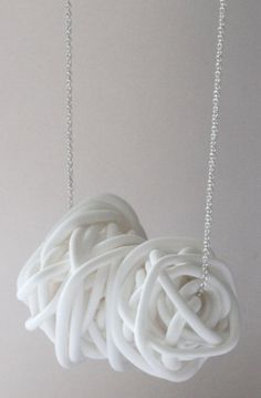 nest necklace (made of white clay) by mariana and hazel