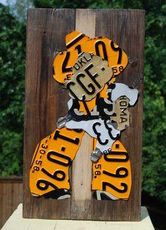 License Plate Art - Pistol Pete on Reclaimed Wood - Oklahoma State University Cowboys - College Art on Etsy, $115.00