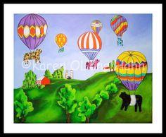 Cow Art Hot Air Balloons Farm Friends Folk Art by RisingStarArt, $30.00