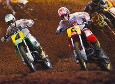 Jeff Ward & David Bailey battling during the 1986 Lake Sugartree Motocross 500 National
