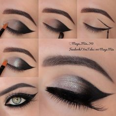 .@maya_mia_y | Pictorial Cat eyes 1.Draw out the cat eye using a black gel liner,I used LB... | Webstagram