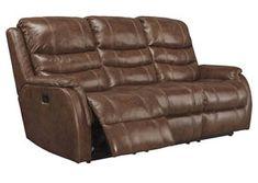 Metcalf Nutmeg Power Reclining Sofa w/ Adjustable Headrest,Signature Design by Ashley