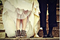 the bride's shoes!!! they wont tell a lie!
