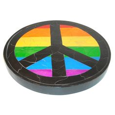 Wooden Mosaic Puzzle Rainbow Peace Sign by PuzzledOne on Etsy