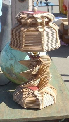 Lamp made from Popsicle sticks