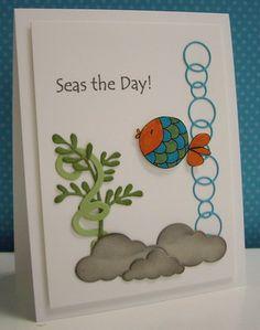 Seas the Day card - Cloud dies to make stones - love the bubbles die - bjl