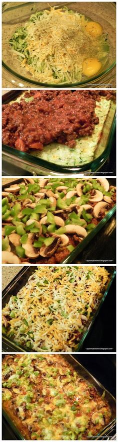 Zucchini Pizza Casserole - skip the crust and just use Crunchtables Zucchini bites! Layer them on the bottom, then add some cheese, meat and toppings!