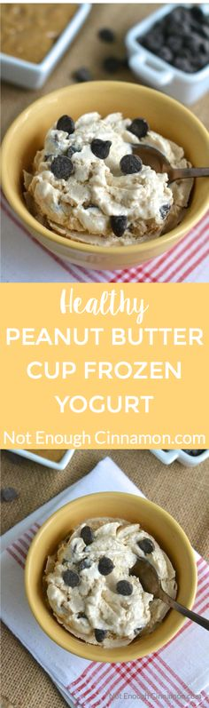 Peanut Butter Cup Frozen Yogurt aka Healthy Reese's Ice Cream - Click to find the recipe on NotEnoughCinnamon.com
