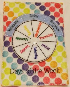 Felt days of week learning game quiet book pages