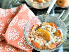 peach crumble - This sounds super yummy, but I wouldsub protein powder for arrowroot, and walnuts or pecans instead of the shredded wheat. I would not add the sugar and I would use real grass-fed butter.  And then I wouldn't measure my spices.  Pour those suckers in! :-)