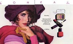 This Thursday, we take a look back at L'Oreal Paris' makeup advertisements from the starring Andie Macdowell. 1980s Makeup, Vintage Makeup Ads, Vintage Beauty, Vintage Ads, Vintage Magazines, Make Up Loreal, Retro Ads, Vintage Advertisements, History Of Cosmetics