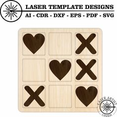 Perfect to laser cut with the Glowforge Epilog, Trotec Laser or Cricut. Instant Digital Download. File comes in AI, EPS, DXF, PDF and SVG files. Cnc Cutting Design, Laser Cutting, Trotec Laser, Tic Tac Toe Game, Silhouette Studio Designer Edition, Diy Wall Art, Cricut Design, Templates, Games