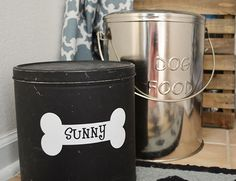 Use chalkboard paint on an old popcorn tin to dress up the cat or dog food container!
