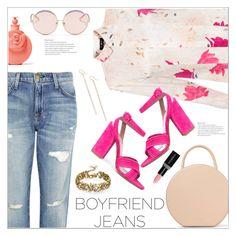 """Boyfriend Jeans"" by christinacastro830 ❤ liked on Polyvore featuring Current/Elliott, Paule Ka, Tabitha Simmons, Mansur Gavriel, Nashelle, Badgley Mischka, Smashbox, Valentino and N°21"