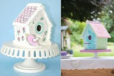 Birdhouse cakes and tutorials on Cake Geek UK: http://cakegeek.co.uk/index.php/birdhouse-cakes-2/