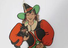 Vintage Witch Woman Halloween Decoration  by UrbanRenewalDesigns, $32.00