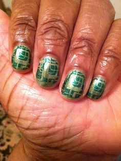 """My first full-nail stamping attempt.  I used Plate RA-108 from the Red Angel Set.  By the time I got to this hand, my stamping skills improved.  Um, I'm not going to show you the crooked stamps on the right hand. Base color is Sally Hansen """"Teeny Greeny Bikini"""" and was stamped with Ulta's """"Envy""""."""