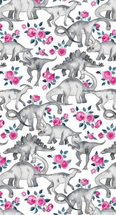 Dinosaurs + Roses fabric / wallpaper / giftwrap by Micklyn on Spoonflower