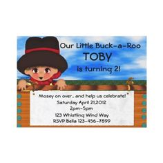 Party Adorable little cowboy rests upon a gate. All text on this cowboy party is fully editable. You can also add a photo and/or more text to the back of the card, Cowboy Party Invitations, Kids Birthday Party Invitations, Custom Invitations, Invites, Cowboy Birthday Party, Birthday Fun, Birthday Parties, Birthday Ideas, Little Cowboy
