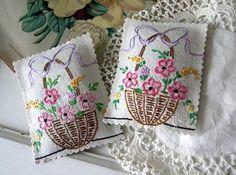 Vintage Embroidered Basket of Flowers LAVENDER SACHETS