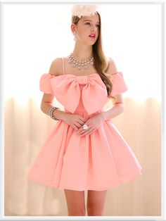 Morpheus Boutique  - Pink Bow Ruffle Pleated Bow Strap Dress, CA$143.57 (http://www.morpheusboutique.com/pink-bow-ruffle-pleated-bow-strap-dress/)