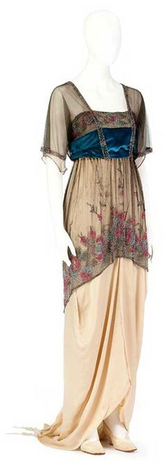 1910s Long Edwardian sheath gown with an embroidered tulle over layer and bright teal band  c1915
