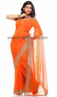 Orange Saree | Ravishing Rusty Orange Saree, Rusty Orange, Georgette