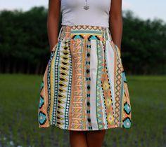 Orange Tribal Skirt Midi Skirt in Tribal Pattern by LoNaDesign