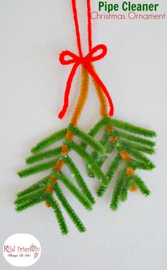 Easy pipe cleaner pine bough ornament for kids to make at christmas Kids Christmas Ornaments, Christmas Tree Toppers, Christmas Crafts For Kids, Christmas Angels, Christmas Fun, Holiday Crafts, Christmas Decorations, Natural Christmas, Christmas Things