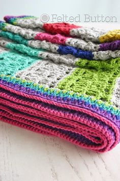 Felted Button - Colorful Crochet Patterns: Under the Awning Blanket Crochet Pattern