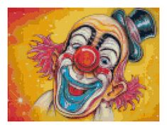 Black Friday Sale - Clown Cross Stitch Pattern - Clown Cross stitch Chart, Clown Needlework Design, Relaxing Hobby, Instant Download PDF De