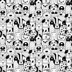 Seamless pattern with black and white doodle dogs stock vector art 93632412 Black And White Art Drawing, Black And White Doodle, Black And White Illustration, Black Gold, Dog Clip Art, Dog Art, Fritz Kola, Dog Vector, Vector Art