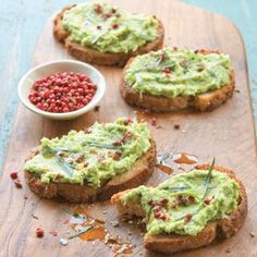 Ricotta and Pea Crostini with Tarragon and Pink Peppercorns