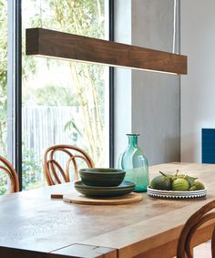 NEW LEDlux Nord LED Up/Down Dimmable Pendant in Walnut - Beacon Lighting
