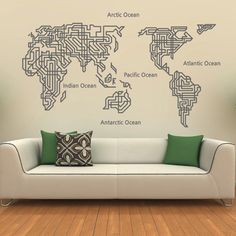 Giant world map wall decal map wall stencils abstract world map world map wall decal home decor world map wall sticker wall decor gumiabroncs Image collections
