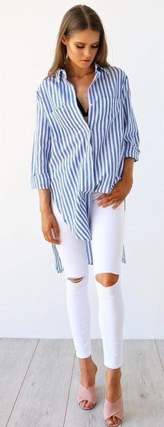 #fall #outfits  Blue Striped Shirt   White Ripped Skinny Jeans