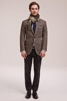 October - Look 24 Made in the USA Tweed Blazer, Slim Jean Black Worn Wash, Double-Faced Cashmere Scarf, Samson Silk Knit Tie