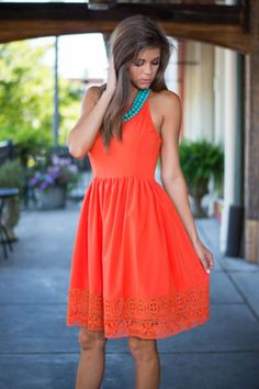 Cut Out In The Sun Dress, Orange: with a jean jacket