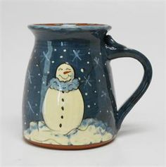 """Eldreth Pottery - Redware Mug with Snowman - 4.5"""" Tall (One of a Kind)"""
